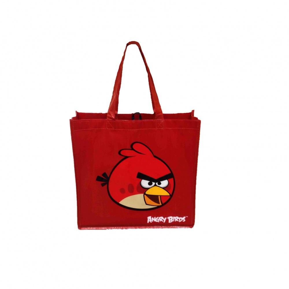 Пакет-сумка 34,5*34,5 см  Angry birds,с ручками(серый цвет),ткань-спандбонд