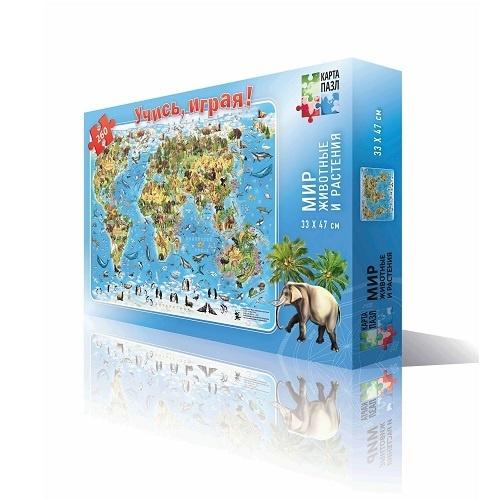 Мир-животные и растения, 33х47, карта-пазл, 260 дет (изд. ГЕОДОМ)