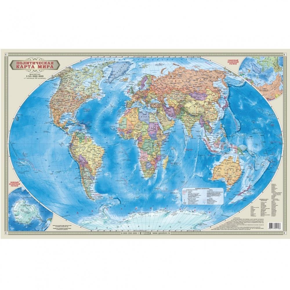 Мир Политический + Инфографика М1:18,5 млн 107х157  настенная карта (изд. ГЕОДОМ)