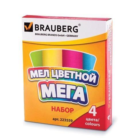 Мел цветной BRAUBERG, набор 4шт., больш. размера, кругл., для рисования на асфальте