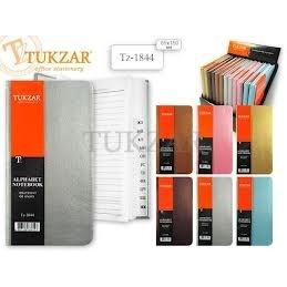 Алфавитная книжка  Tukzar, 8,5*15,5см, кожзам металлик, линия, ассорти