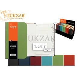Алфавитная книжка  Tukzar, 8*13,5см, кожзам нубук, цвет ассорти (дисплей18шт.)
