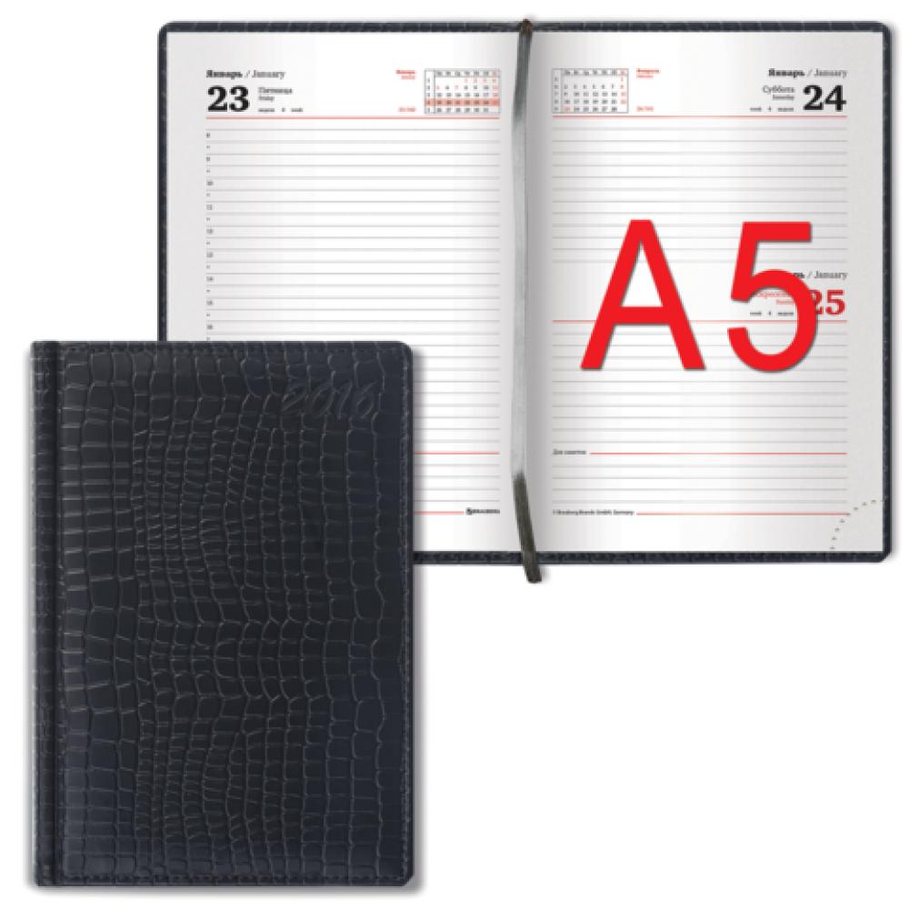 Ежедневник BRAUBERG полудат, А5 на 4 года 145*215мм, 192л., обл. бумвинил, черный, тиснение