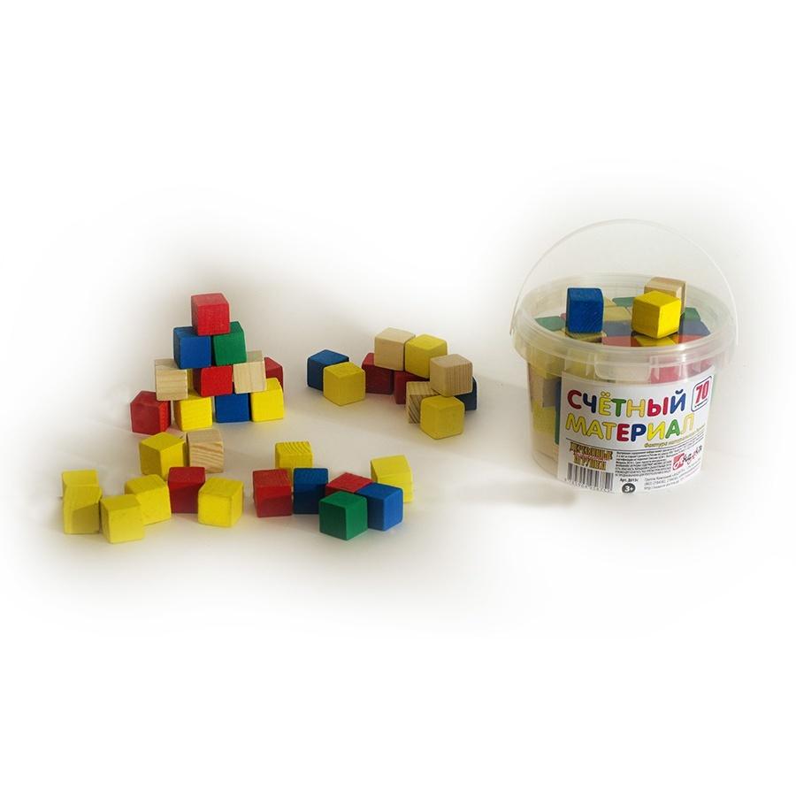 Счетный материал кубики 65шт в пластиковом контейнере