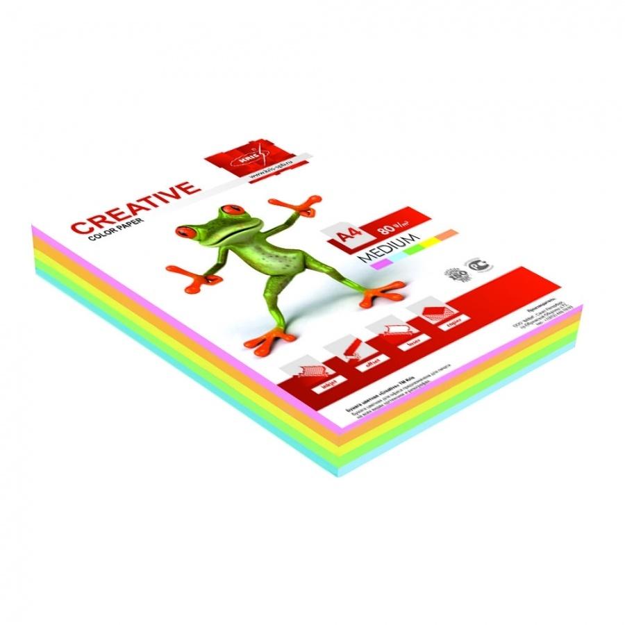 Бумага CREATIVE color (Креатив) А4,80г/м, 100л (5цв*20л) цветная интенсив