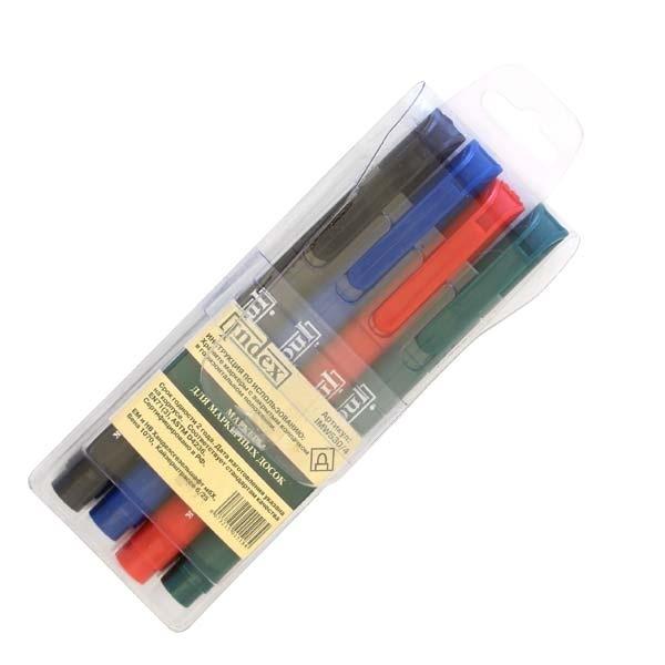Набор маркеров для доски  4 цв блистер INDEX
