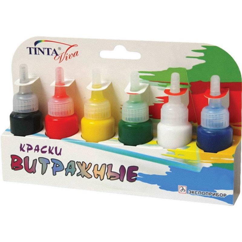 Краски  витраж 6 цв. флуорисцентные