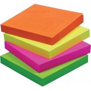 Блок д/записи с липким слоем 76*76мм CENTRUM неоновый 4 цв 100л.