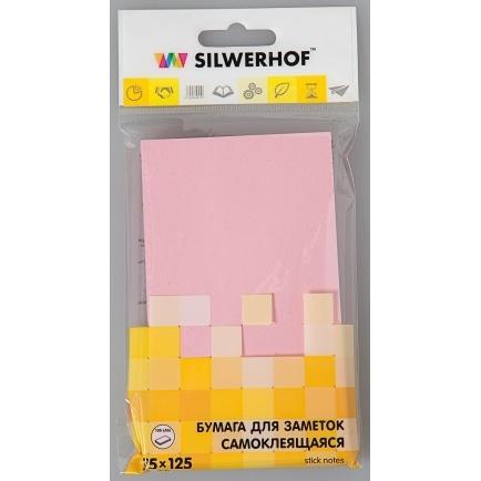 Бумага клейкая для заметок, 75*125мм,100л, цвет розовый